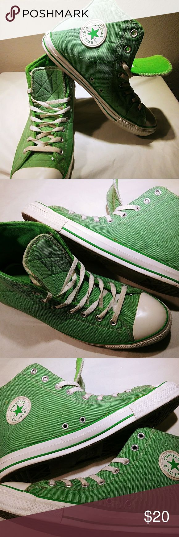 Chuck Taylor John Deere Green Converse sz 11 Item up for sale is a gently used pair of Chuck Taylor's, quilted, John Deere Green, Hytop sneakers. These are unisex and fit mens sz 11 and women's 13. These are used, in great condition, with a lot of life left to them. Please ask any questions and thanks for looking. Converse Shoes Sneakers