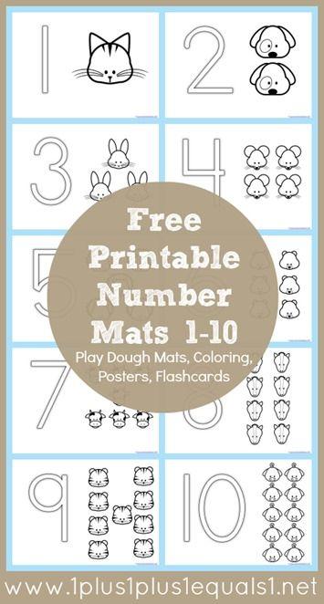 Free Number Coloring Printables from @{1plus1plus1} Carisa #totschool #preschool