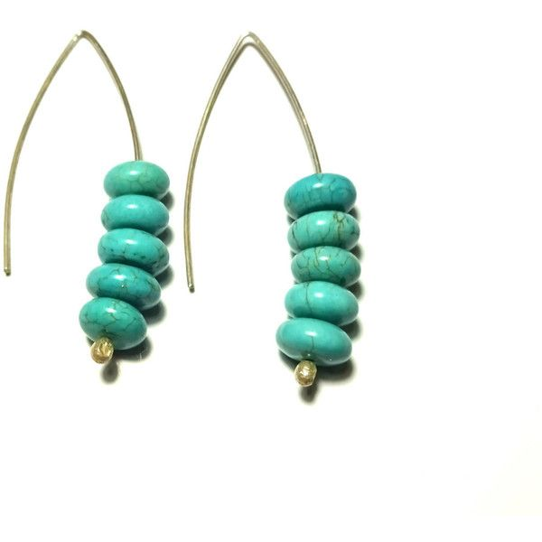Turquoise Earrings Sterling Silver Handmade Minimal Greek Jewelry Organic Beads Eco friendly Natural Howlite Magnesite Gift For Her (€13) found on Polyvore featuring women's fashion, jewelry, earrings, long beaded earrings, blue turquoise earrings, green turquoise jewelry, beaded earrings and sterling silver jewelry