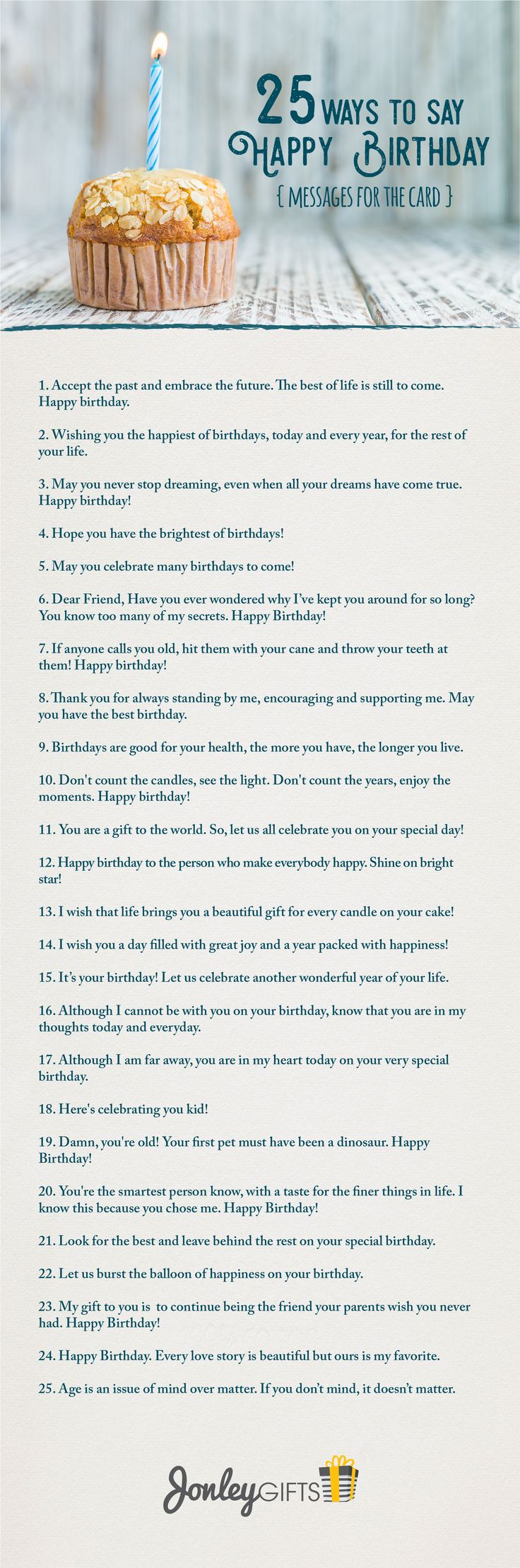 Having trouble coming up with the perfect birthday message? Here are 25 great ways to wish that special someone in your life a Happy Birthday. The list is filled with funny, romantic, and poetic birthday wishes to help inspire those magical words you can't seem to find.