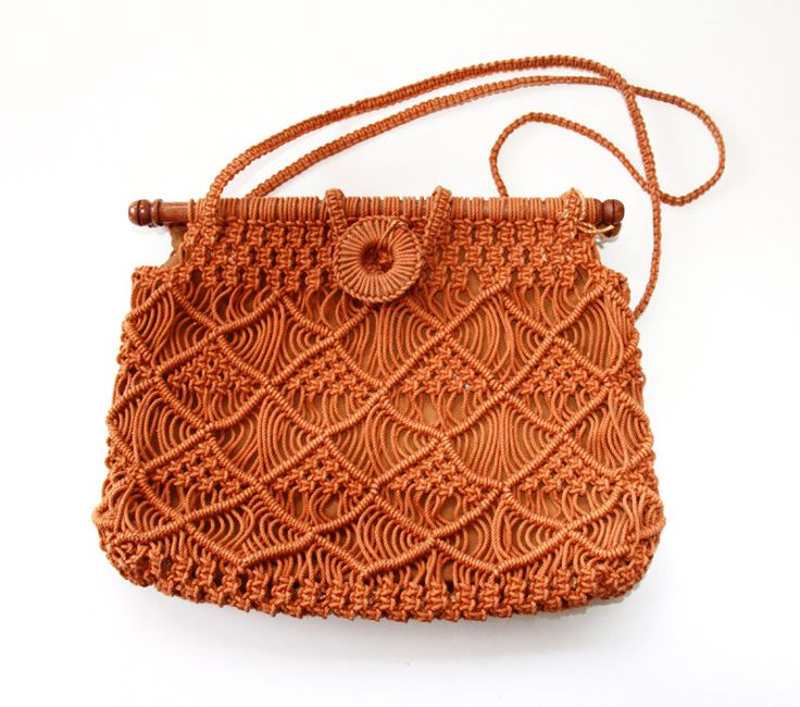 Vintage Macrame Purse Burnt Orange - Boho Hippie Handbag. $15.00, via Etsy.