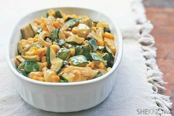 Sauteed zucchini with corn and roasted peppers