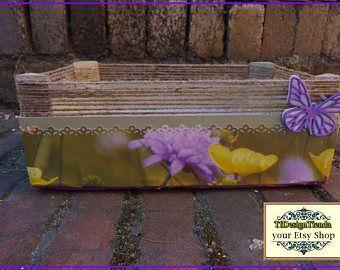 Caja de Madera Decorada Mariposa Lila , Caja pequeña, Caja almacenaje, Caja Armario, Caja Clasificadora Labores, Caja regalo, Caja toallitas