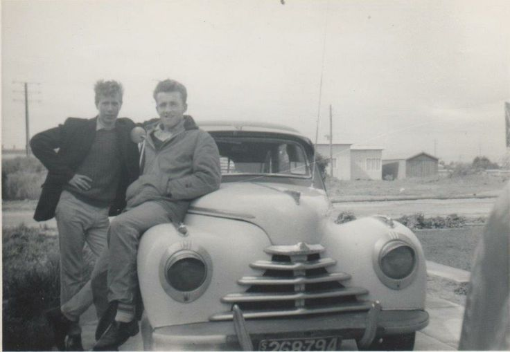 1946 Skoda that I got when I was about 16-17 years of age - two of my friends lounge over it.
