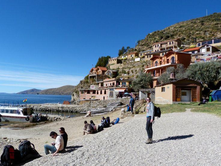 Haventje op Isla de Sol in het Titicacameer, Bolivia
