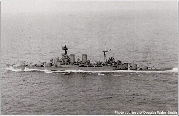 HMS Hood in May 1941, just before it was sunk by German battleship Bismarck. Photo courtesy HMS Hood Association.