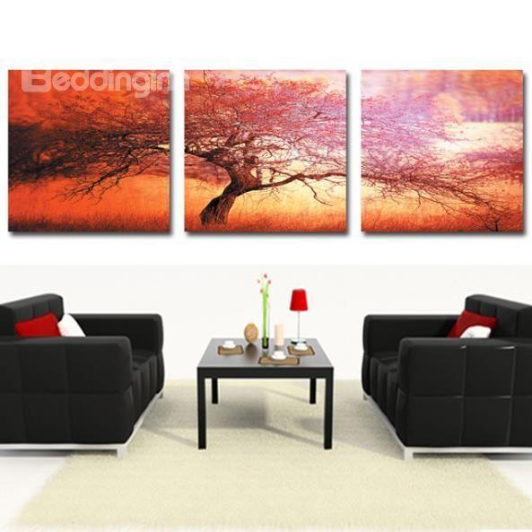 new arrival beautiful big tree print 3piece cross film wall art printshttp
