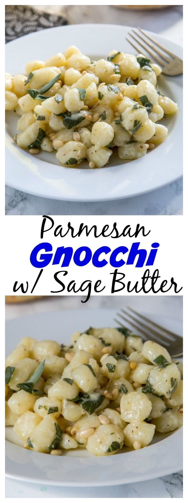Parmesan Gnocchi with Sage Butter– comfort food that is on the table in 15 minutes. Soft gnocchi tossed with melted butter, sage, and Parmesan cheese!
