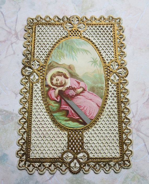 Victorian Holy Card Cut Out Paper Lace With Gold by MiladyLinden, $7.95