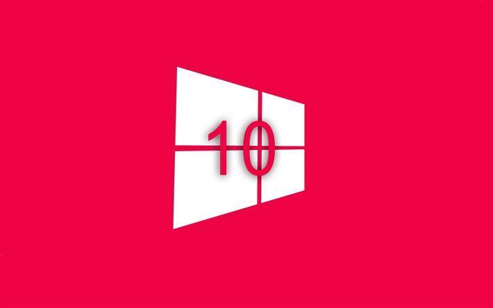 Herunterladen hintergrundbild rosa hintergrund, windows 10, flaches design, creative, microsoft