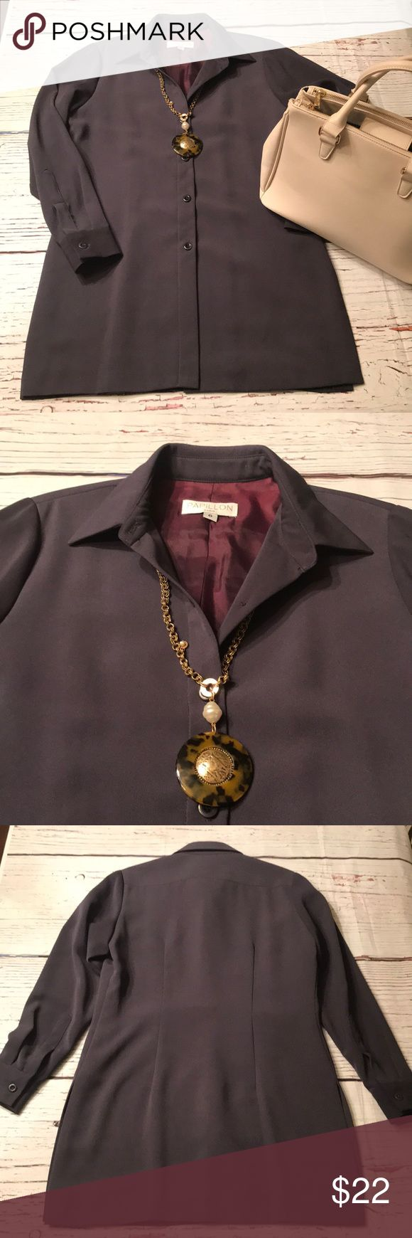new fall long grey designer jacket euc in my posh