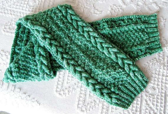 Cozy warm cable patterned green and white hand by mumluvs2knit, $20.00