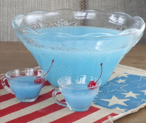 Easy Blue Piña Colada Party Punch recipe that is kid-friendly and perfect for 4th of July, a baby boy baby shower, or Frozen birthday parties!
