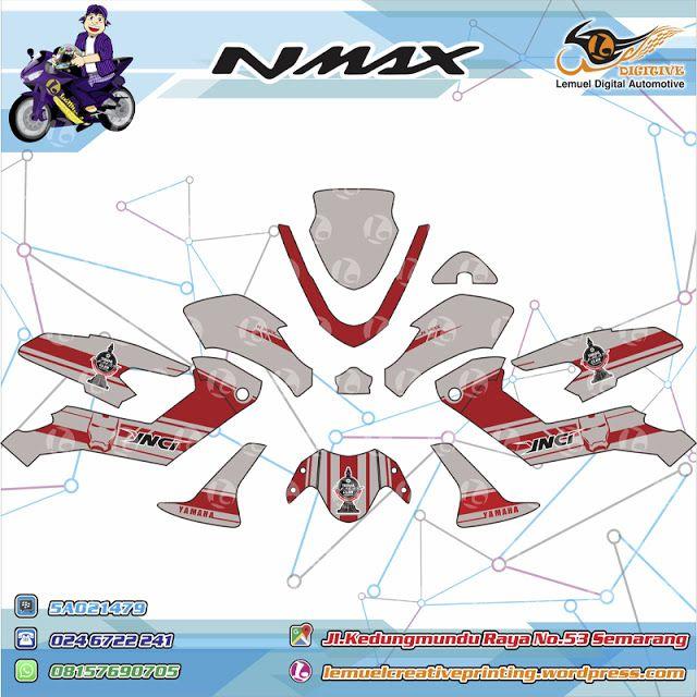 Custom Striping Motor Full Body Yamaha NMAX Thema Strip Red Greay Logo YNCI Semarang Berkualitas by DIGITIVE