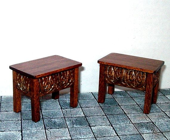 Tudor Stools, Two Stools, Medieval Dollhouse Miniatures 1/12 Scale Pretty stools for your Tudor dollhouse. The decorative panels are on all four