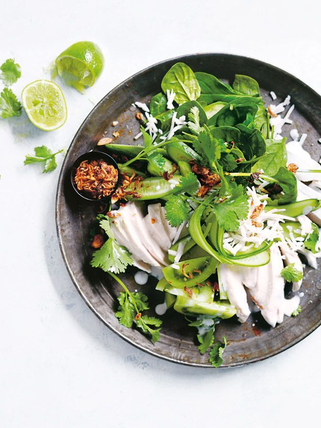 coconut, lime and coriander poached chicken salad