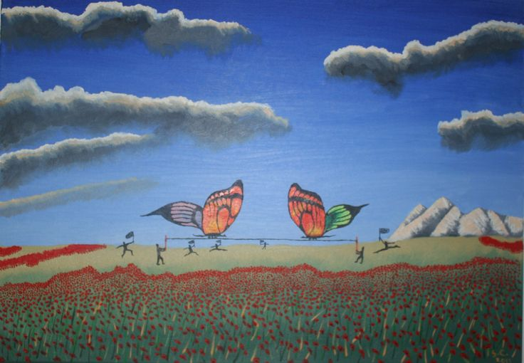 """Catching Butterflies On Poppies Field"" ulei pe panza 50x70 cm - Oil on canvas 20x27 inches"