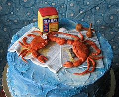 "Maryland ""Crab Cake""cake was made for a wedding shower for a couple..."