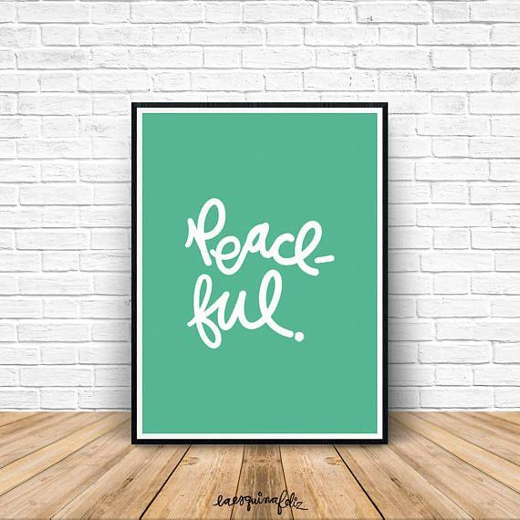 Impresión menta pacífica, arte de pared de dormitorio, decoración oficina, decoración de cuarto de baño, arte de la pared del cuarto de niños, colores, moda, palabras para imprimir descargar