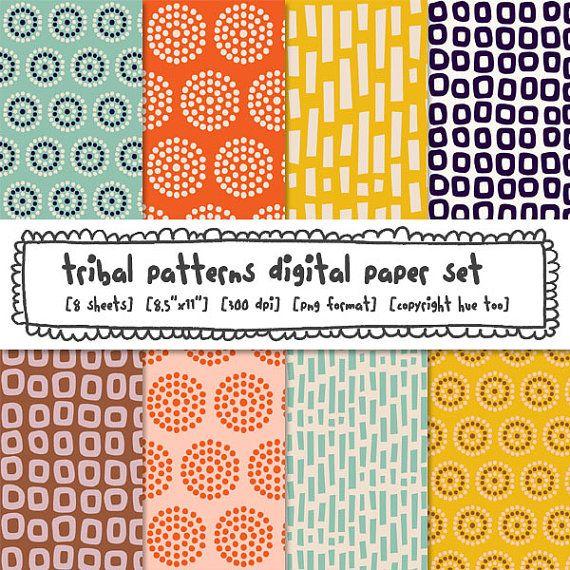 digital paper, printable tribal patterns, orange blue mustard yellow, patterned paper, instant download digital background papers - 305