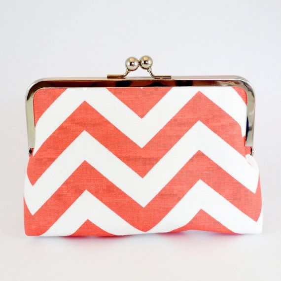 For: Mrs Perry - LARGE clutch in Premier Prints CHEVRON Zigzag - Coral - #averytickledchristmas
