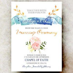 Blue Pink weddding invitation -  sea wedding invitation, printable wedding invitation