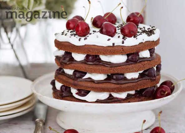 Chocolate, cherries, custard and cream all layered together in a cake, but without any gluten: a touch of genius from Phil Vickery and Sainsbury's magazine