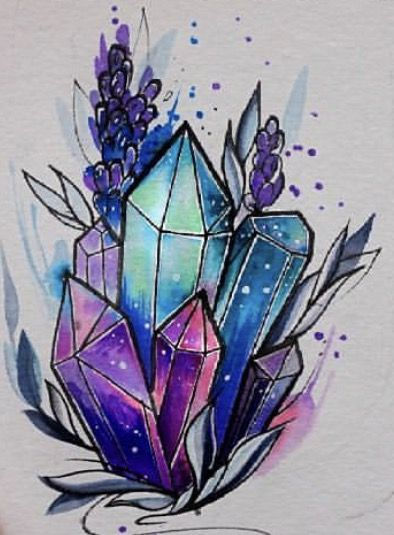 Watercolor Crystal tattoo