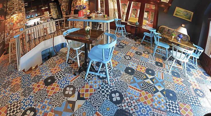 Marrakesh Cement Tiles at Blue Bird Cafe, downtown Budapest.