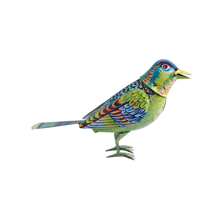 This beautiful singing makes the perfect sentimental gift. The tin toy features a brightly coloured bird that sings, flaps its mechanical wings and moves its head when you turn its key. This tin toy is made using traditional processes starting from flat sheet metal where it is printed and cut then assembled and decorated by hand.
