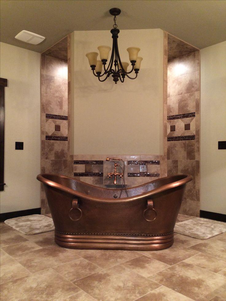Rustic Bathroom Hammered Copper Tub In Front Of A Corner Walk Through Shower Dream