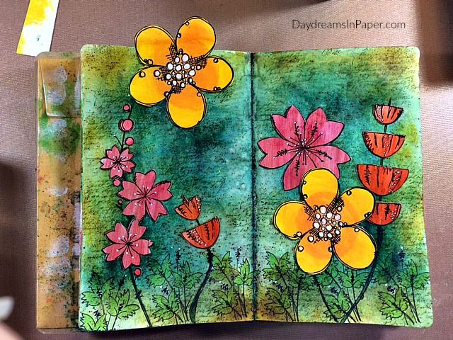 PaperArtsy Jofy 32 and 33, TH ledger stamp, bg: infusion pigment inks, flowers fussy cut, good directions