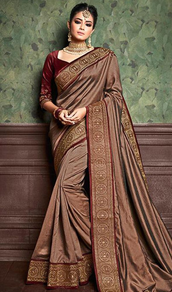 91cbabeee1 Shaded Embroidered Brown Color Silk Sari in 2019   Latest Designer Indian  Sarees Collection 2019   Designer silk sarees, Silk sarees, Saree