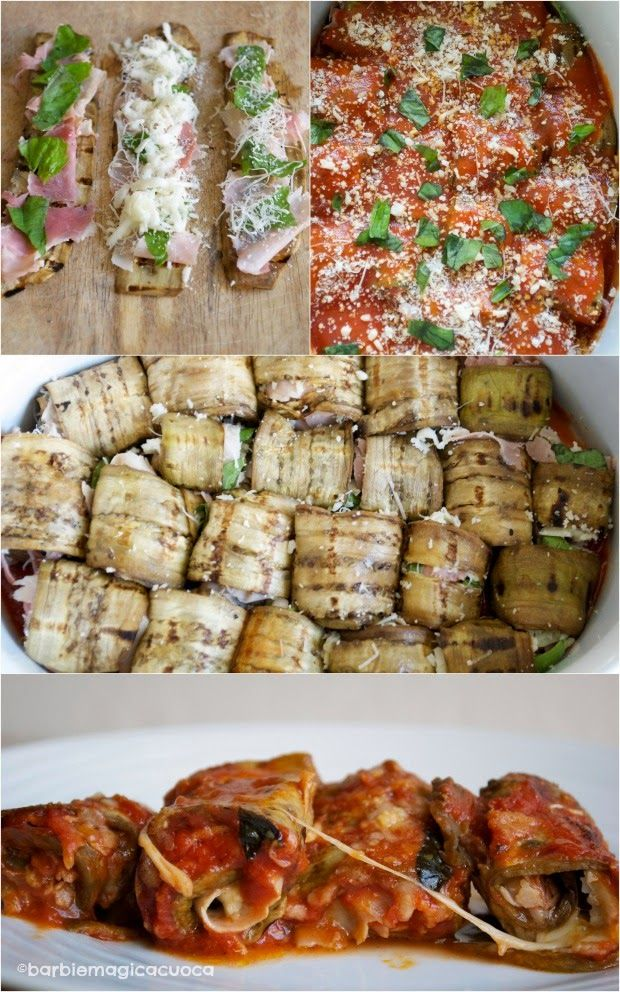 Roll grilled eggplant, layer with provolone, parmigiano, proscuitto and roll, cover in sauce, bake 30-40 minutes.