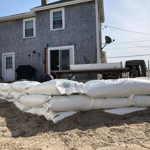 This from #Boston25 News reporter @rgoulston. In advance of major storm, sandbags outside of #Scituate home that is still being repaired from nor'easter less than 2 months ago. #weather #flooding #southshore
