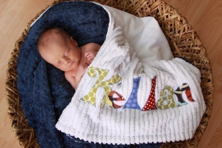 Monogrammed Baby Blanket Navy Dot Minky and White by mollyannemake, $60.00