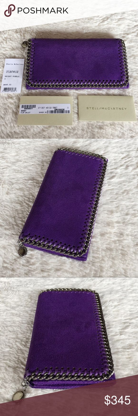 NEW STELLA MACCARTNEY FALABELLA SHAGGY DEER WALLET Authentic. Made in Italy. Brand new with tags, authentic card, and care book. PLEASE NO TRADE. THE PRICE IS FIRM. Roomy enough for your phone, credit cards, stash of cash and more, this wallet, with its multitude of pockets, will have you stylishly organized in a snap. The ruthenium diamond-cut chain adds some edge to the soft, faux-leather construction, while a logo-etched disc puts the polish on this look. Snap-flap closure. Interior zip…