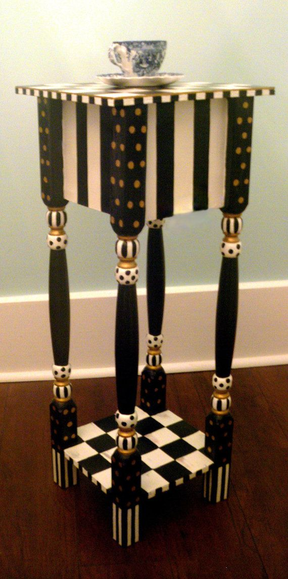 Whimsical black and white checkered side table or by shabbysleek, $249.99