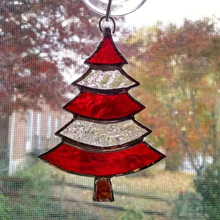 Stained Glass Christmas Tree Ornament - Suncatcher - Red and Clear Glass - Holiday Decor - Christmas Gift - Stocking Stuffer by StainedGlassYourWay on Etsy https://www.etsy.com/listing/255670509/stained-glass-christmas-tree-ornament