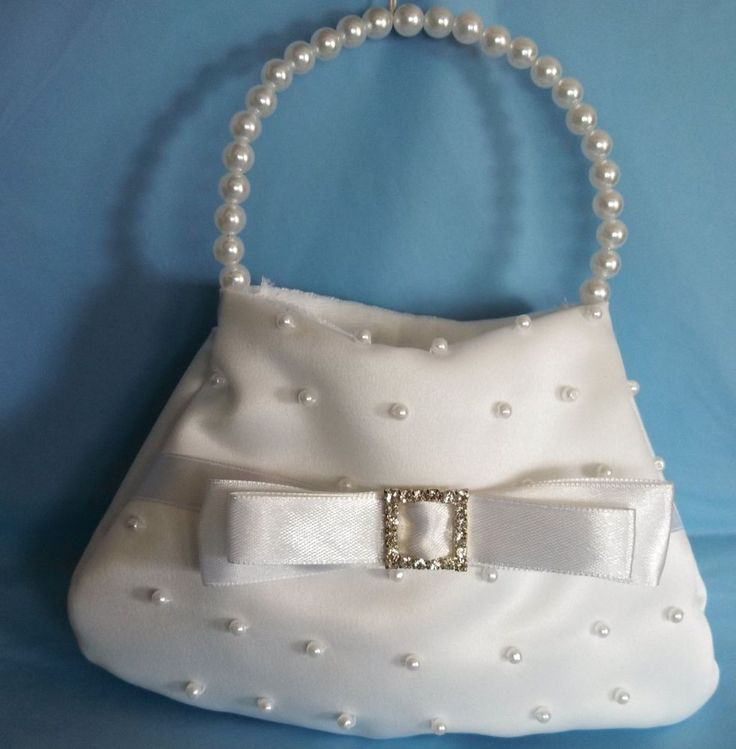 White Flower Girl Purse First Communion Satin Pearl Rhinestones Wedding bag NEW