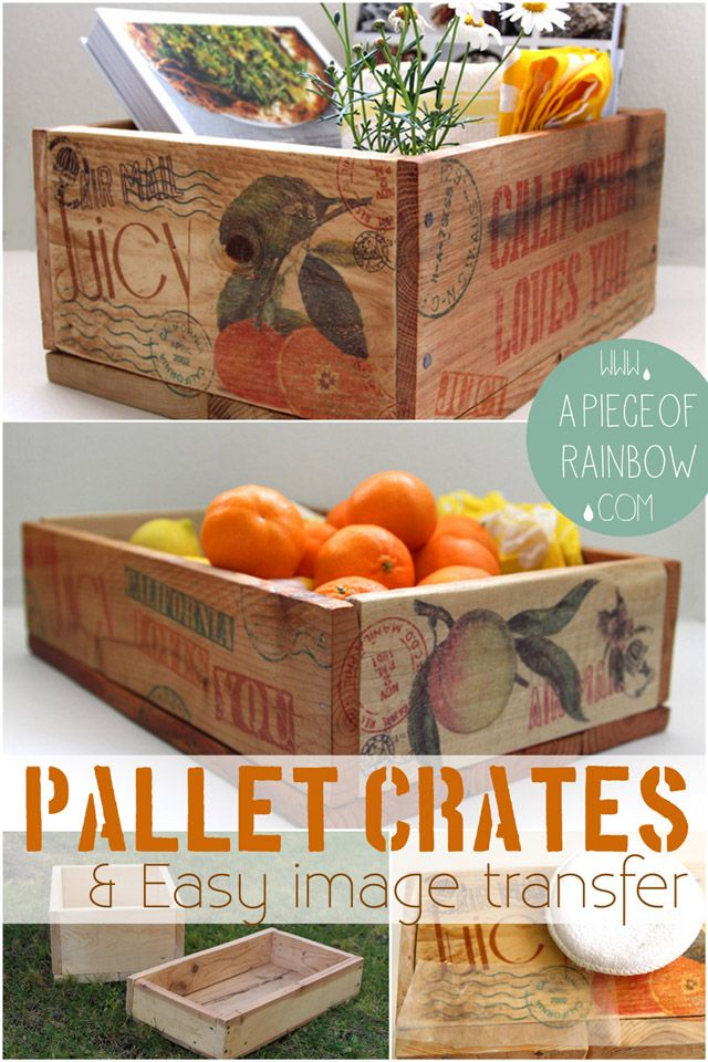 How to Make Pallet Crates & Transfer Image To Wood Easily with only wax paper! | A Piece Of rainbow