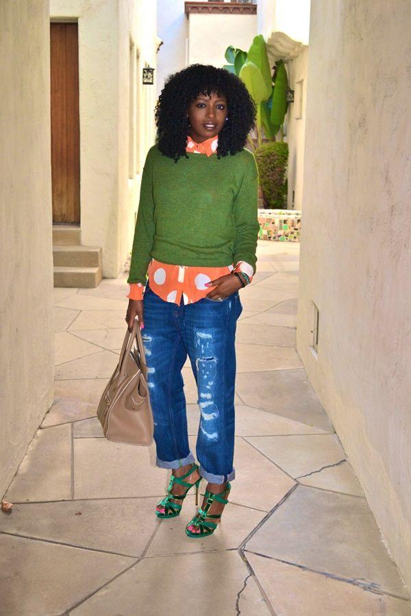 Sweater + Polka Dot Shirt + Boyfriend Jeans | Style Pantry