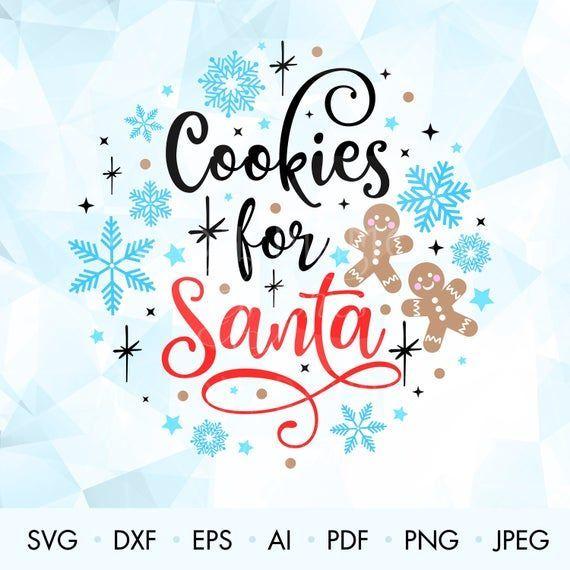 Weihnachtsplätzchen für Santa SVG, Santa Lebkuchen Kekse Sv …