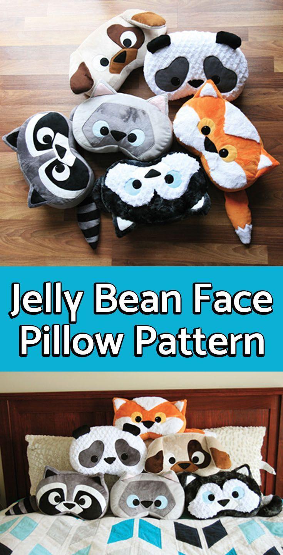 How Cute Jelly Bean Pillow Pattern 6 Patterns Kitten Fox Raccoon Panda Husky And A P Animal Pillows Pattern Sewing Stuffed Animals Monkey Stuffed Animal