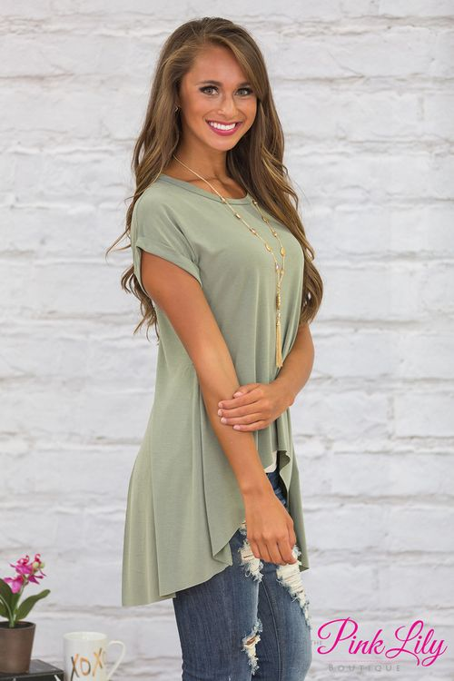 Anything But Neutral Blouse Sage CLEARANCE - The Pink Lily