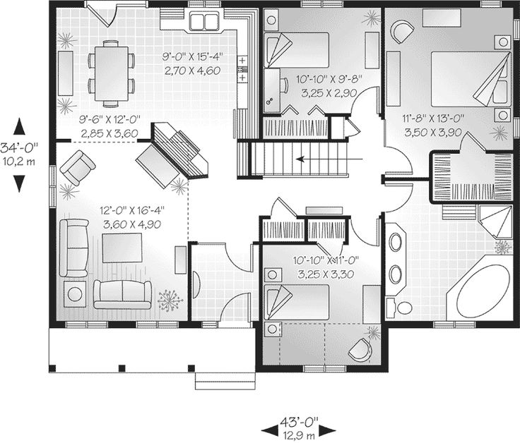 First Floor Plan Of Bungalow Cabin Country Ranch Traditional House 65006