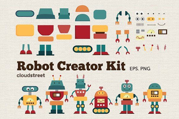 Robot Creator Kit Clipart by cloudstreetlab on @creativemarket