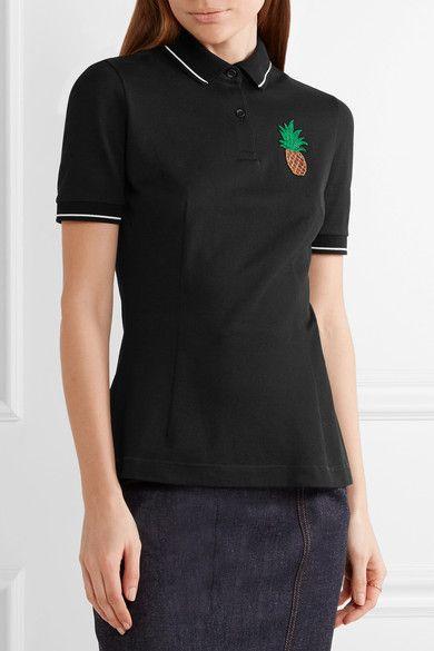 Dolce & Gabbana - Appliquéd Cotton-piqué Polo Shirt - Black - IT42