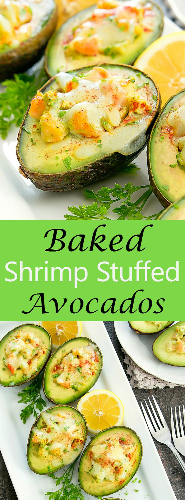 Baked Shrimp Stuffed Avocados. An easy and delicious meal ready in less than 30 minutes.