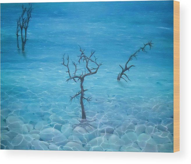 Wood Print,  nature,shore,coastal,scene,seascape,pebbles,stones,trees,water,ocean,seaside,shallow,transparent,clear,trunks,roots,standing,rocks,calm,peaceful,dead,old,blue,surreal,fantasy,beautiful,image,fine,oil,painting,contemporary,scenic,modern,virtual,deviant,wall,art,awesome,cool,artistic,artwork,for,sale,home,office,decor,decoration,decorative,items,ideas